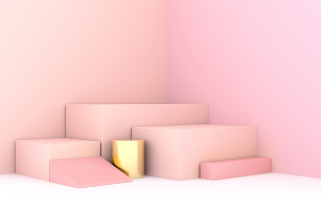 Geometric shape 3d rendering stage for products or achivments in pastel pink color