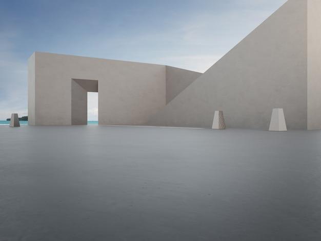 幾何学的形状の建築と駐車場の空のコンクリートの床