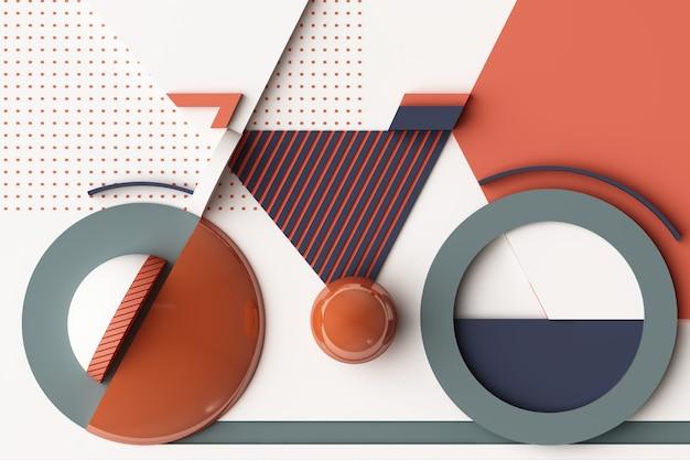 Geometric shape of bike sport concept in orange and blue colour tone. 3d rendering