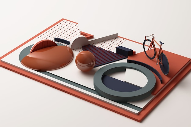 Geometric shape of bike sport concept in orange and blue colour tone. 3d rendering