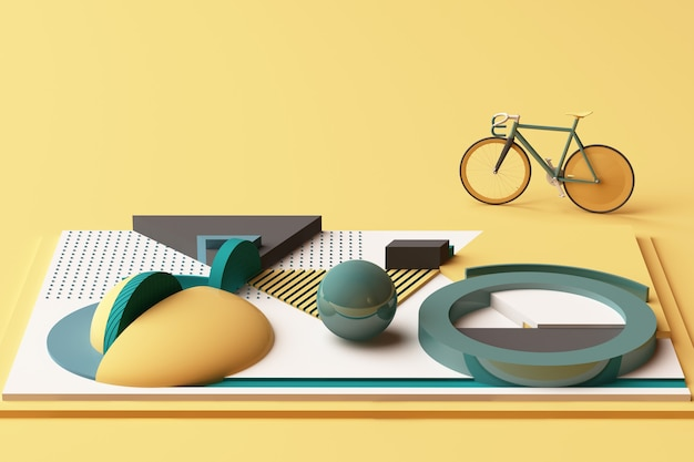 Geometric shape of bike sport concept in yellow and green colour tone. 3d rendering Premium Photo