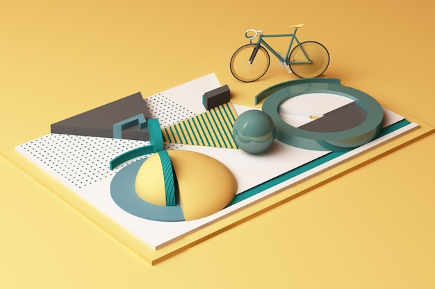 Geometric shape of bike sport concept in yellow and green colour tone. 3d rendering