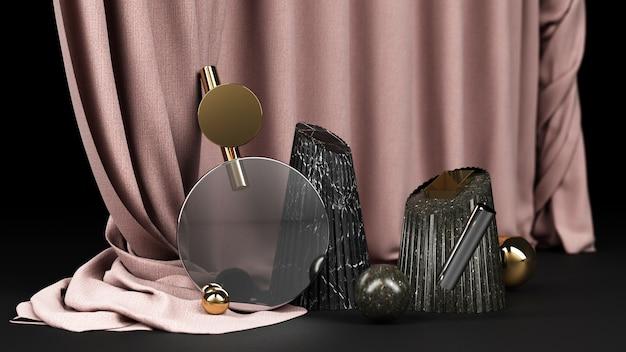 幾何学的形状黒と金の大理石と透明なガラスの黒い色