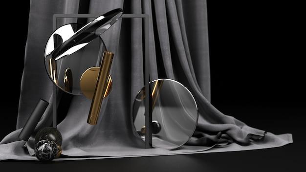 幾何学的形状黒と黒と金の大理石素材と透明なガラスと黒の布のレンダリング