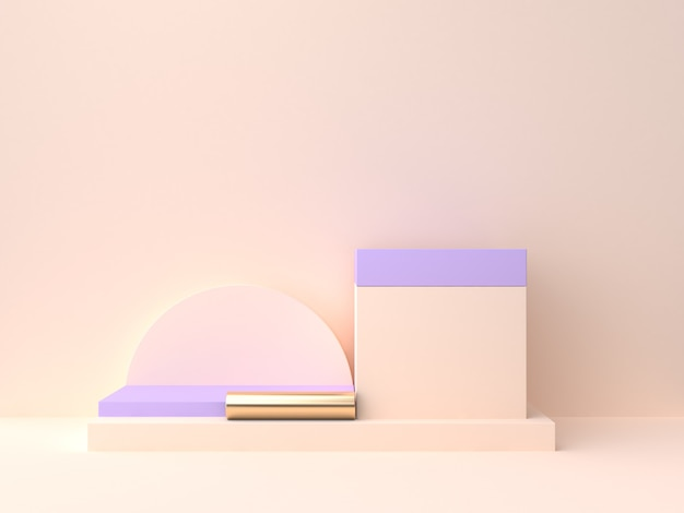 기하학적 모양 빈 연단 3d 렌더링 크림 보라색 보라색 벽 장면