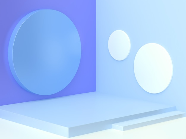 Geometric shape blue wall corner white floor abstract minimal scene cylinder staircase blank podium