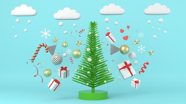 Geometric shape christmas tree scene concept decoration 3d rendering