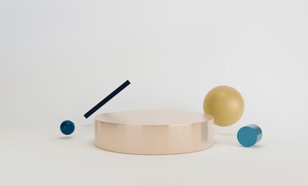 Геометрическая форма крема сцена минимальный 3d-рендеринг