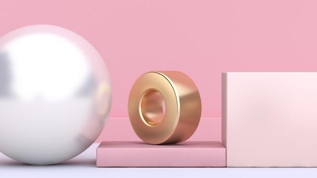 Geometric shape form white gold 3d rendering