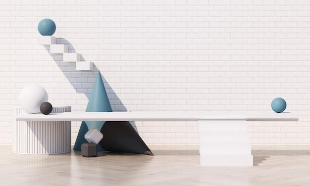 白いタイルの壁と木の床と青いパステルカラーの幾何学的形状