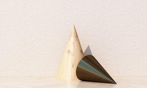 木とコンクリートの質感を持つパステルカラーの幾何学的形状