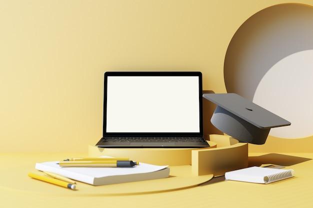 黄色いパステル背景に幾何学的形状の最小限の構成と学用品 教育に戻る学校コンセプト ペイント鉛筆とラップトップ 学校のアクセサリーと卒業帽子の 3 d レンダリング