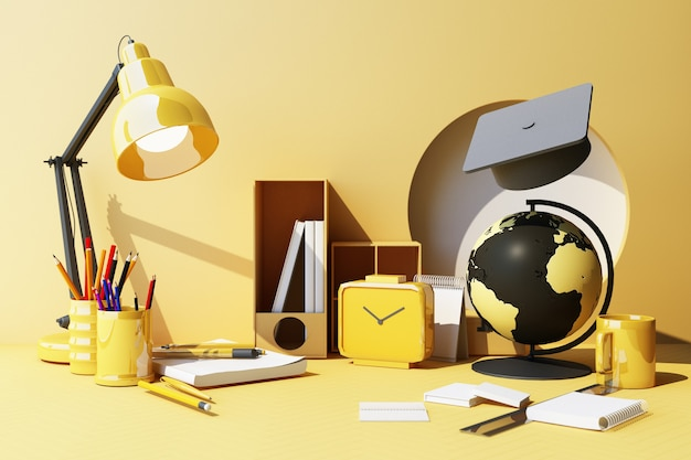 黄色いパステル背景に幾何学的形状の最小限の構成と学用品 教育に戻る学校コンセプト ペイント鉛筆とはさみ 学校のアクセサリーと卒業帽子の 3 d レンダリング