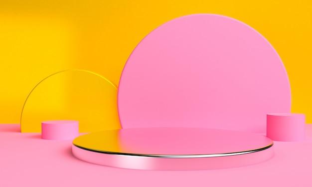 Geometric shape minimalist abstract background, 3d render.