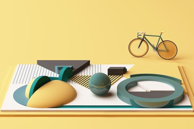 노란색과 녹색 색조의 자전거 스포츠 개념의 기하학적 모양. 3d 렌더링