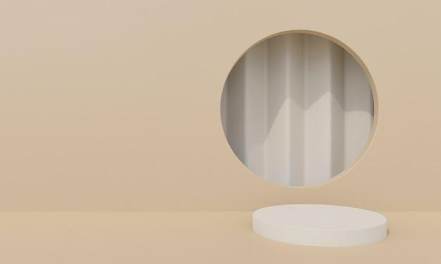추상적 인 배경 드릴 구멍에 기하학적 모양이 둥근 벽을 퍼 팅합니다. 화장품을 제시하기 위해. 3d 렌더링