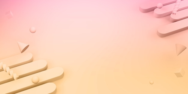 기하학적 모양 플라스텔 색상 달콤한 배경 3d 그림
