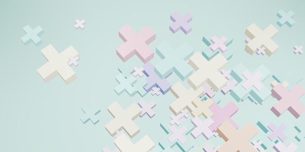 Геометрическая форма плюс знак пастельный цвет сладкий фон 3d иллюстрация