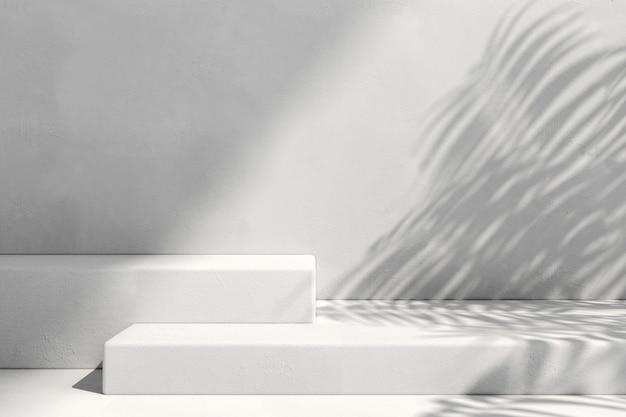 最小限の背景での製品広告のための幾何学的形状の表彰台