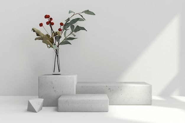 製品広告のための幾何学的形状の表彰台