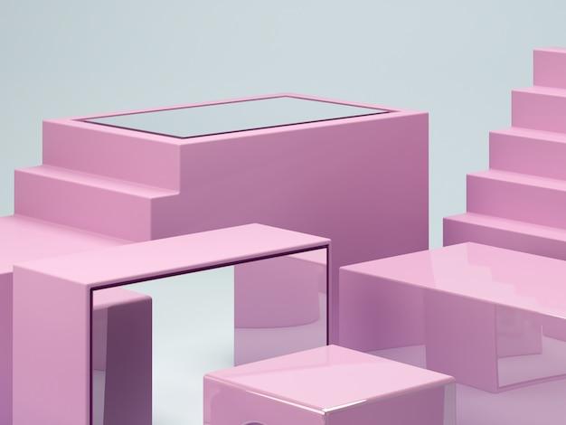 Геометрическая форма фиолетовый и синий цвета сцены. минимальный 3d-рендеринг. сцена с геометрическими формами и зеркалом