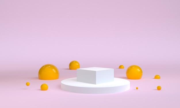 Geometric shape scene minimal, 3d rendering.