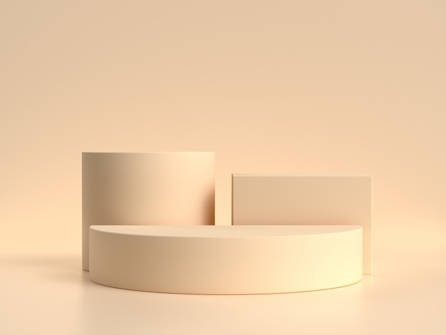 Geometric shape set blank podium shelf cream/soft yellow scene 3d rendering