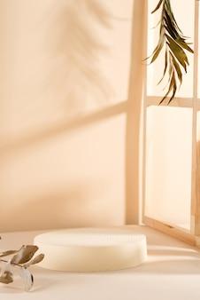파스텔 배경에 빈 받침대와 같은 기하학적 모양. 열대 잎 그림자가있는 화장품, 포장, 제품 프리젠 테이션을위한 모형.