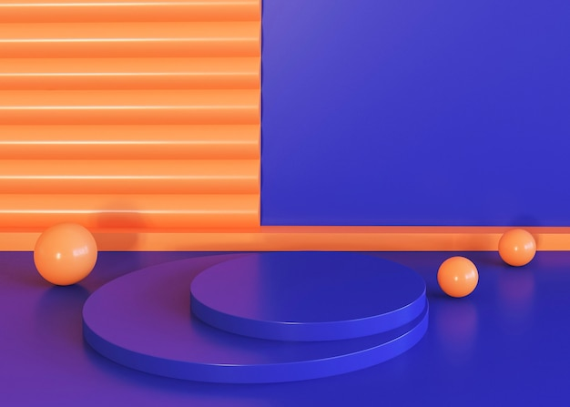 Geometric shapes background blue and orange tones