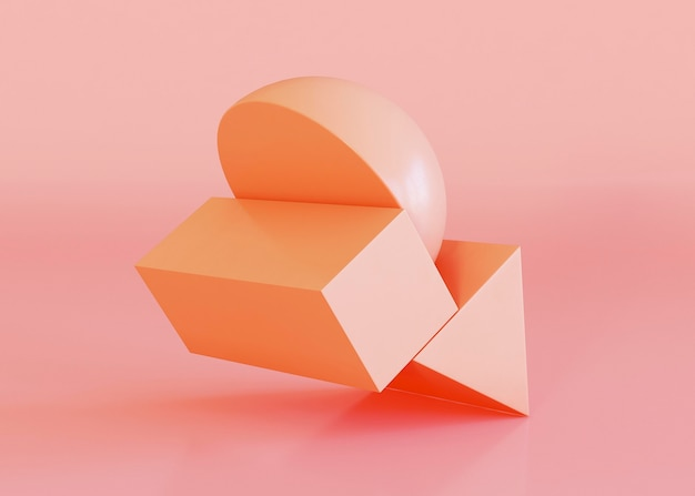 Geometric shapes background in orange tones