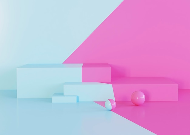 Geometric shapes background pink and light blue tones