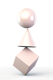 Geometric shapes balancing on top of each other.