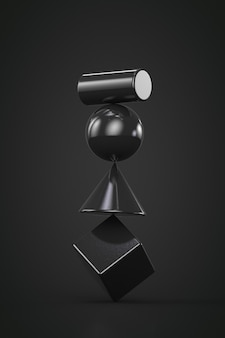 Geometric shapes balancing on top of each other