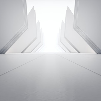 Geometric shapes on empty concrete floor.