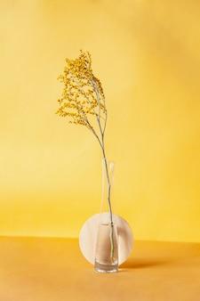 Геометрические формы возле вазы с веточкой на желтом фоне