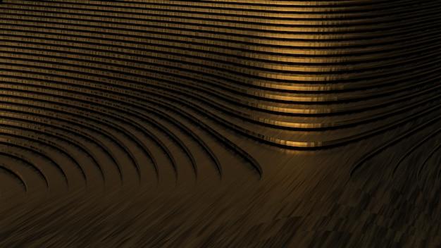 복잡한 모양의 황금 재료의 기하학적 모양 프리미엄 사진