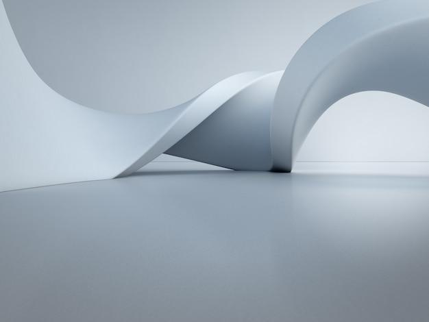 空のコンクリートの床の上の幾何学的図形。