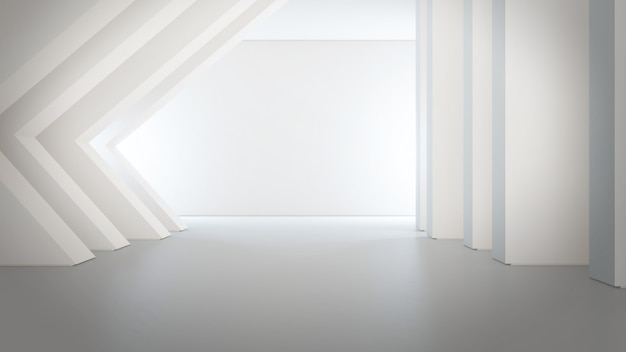 Geometric shapes structure on empty concrete floor with white wall background in big hall or modern showroom.