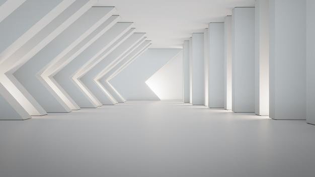 白い壁の大きなホールまたはモダンなショールームと空のコンクリートの床に幾何学的図形構造。