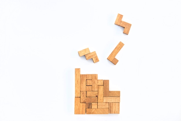 Geometric shapes in top view, creative and logical thinking concept