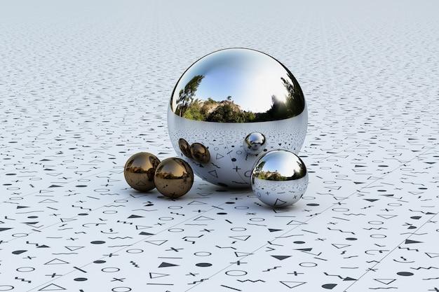 球に反映されたメンフィスパターン環境を備えた幾何学的形状。 3dレンダリング