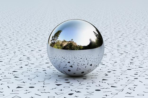 Геометрические формы с окружающей средой образца мемфиса отражены на сфере. 3d рендеринг
