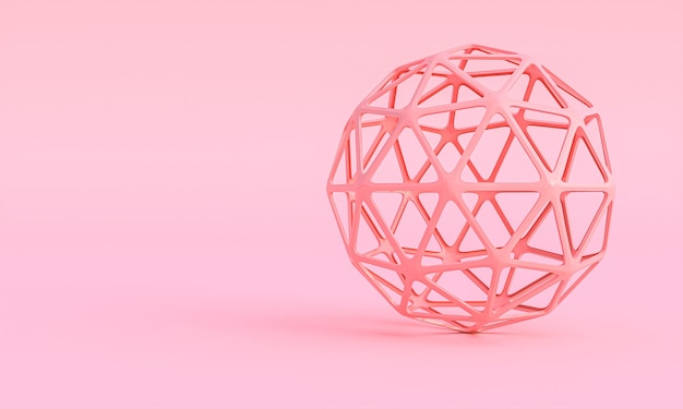 Geometric sphere chiseled on pink background 3d render