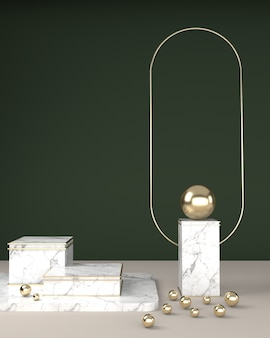 Geometric square marble texture, spherical balls, and oval frame gold surface on a green backdrop