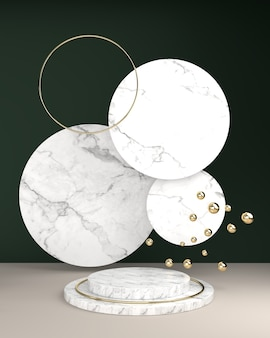 Geometric square marble texture, spherical balls and oval frame gold surface on a green backdrop