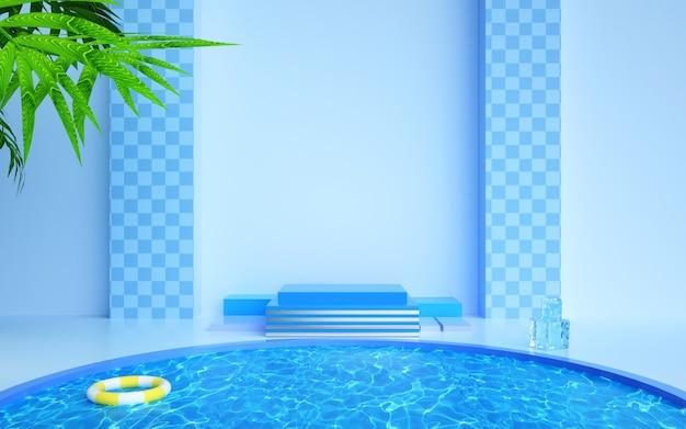 製品展示のための夏のコンセプトを持つ幾何学的な舞台背景
