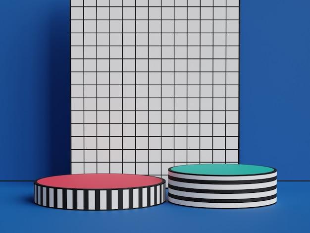 Платформа с геометрическим рисунком на подиуме для демонстрации продуктов на красочном узорчатом фоне