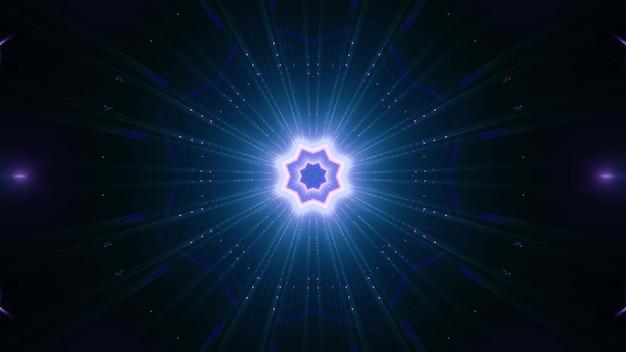 어둠 속에서 활기찬 푸른 빛으로 빛나는 기하학적 별 모양의 장식