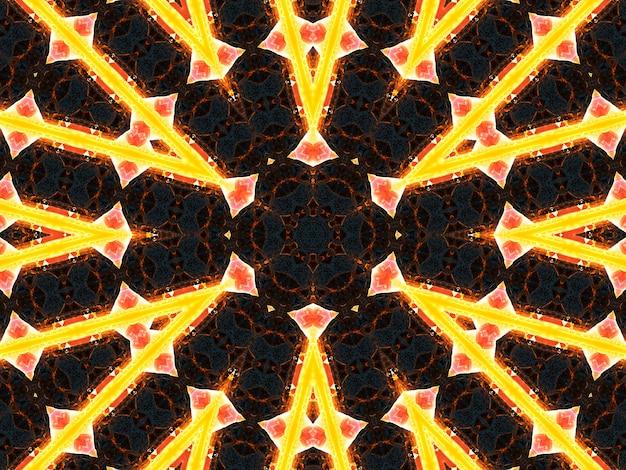 Геометрический тайский узор, смешанное искусство, полинезийское искусство, искусство мандалы. в форме шестиугольников, треугольников и шестиконечных звезд. выкройка каледоскопа для скрапбукинга, подарочной упаковки, книг, буклетов, альбомов