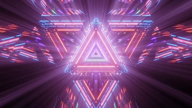 Геометрическая треугольная фигура в неоновом лазерном свете